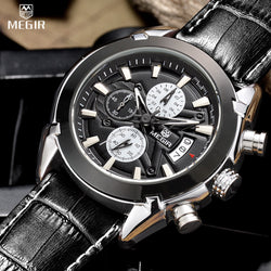 MEGIR Chronograph Function Mens Watches Genuine Leather Luxury Mens Brand Military Wristwatches