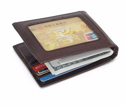 Credit Card Protector Small Men's Wallets Genuine Leather Folded with  Money Clip  Cowhide Leather Male Purse  RFID Blocking