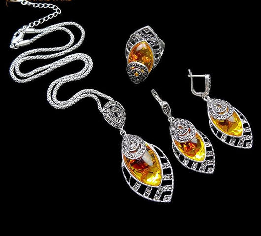 Unique Silver Color Antique Jewelry Set High Fashion Leaf Shape Vintage Jewelry Sets for Women