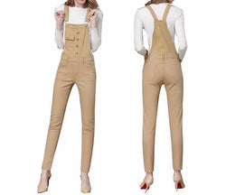 Women Jumpsuits Slim Pocket Denim Overalls Fashion Khaki Jean Jumpsuit Plus Sizes