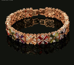 Top Quality Luxurious Multi-color Crystal Bracelet Beautiful Rose Gold Color Fashion Jewelry
