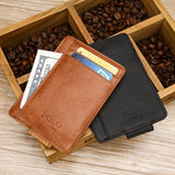 Credit Card Protector  Genuine Leather RFID Minimalist Ultra Thin Money Clip Wallet  Front Pocket Slim Wallet with RFID Blocking