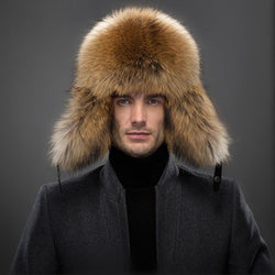 High Fashion Men's Winter Genuine Leather and Fox Fur Hat Real Silver Fox Fur For Outdoor Ear Protection Best Quality Natural Raccoon Fur