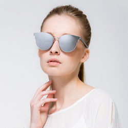 Casia Del Ray Brand Collection X-VOGUE New Oversized CatEye Sunglasses  Women Fashion Summer Style Big Size Frame Mirror Sunglasses Semi-Rimless