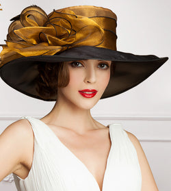 Elegant Summer Vintage Large Wide Brim Wedding Kentucky Derby Or Church Hat