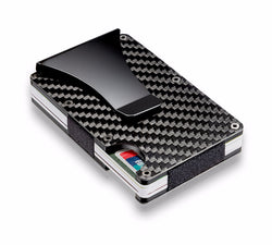 New Anti-Theft Carbon Fiber Mini Credit Card ID Holder With RFID Anti-chief Compact Card Wallet