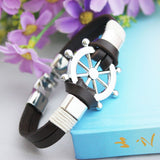 Handmade Rudder Anchor Bracelet  With Vintage Retro Braided Leather Bracelet for Male Accessory and Jewelry for Men
