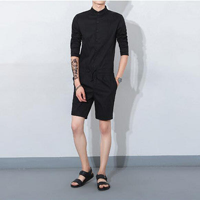 Hip Hop Fashion Men's Long Sleeve Jumpsuit Casual Single Breasted Shirt Short Pants Overalls Drastring Waist Rompers Khaki
