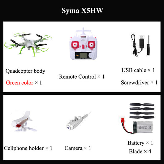 ZONE OF DRONE Syma X5HW FPV RC Drone with WiFi Camera RC Quadcopter with LED Light Headless Model RTF Gift Toy