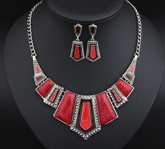 Fashion Jewelry Sets For Women Stone Enamel Necklace Earring Sets in Four Colors