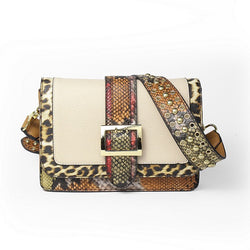 Leopard and Snake Patchwork Shoulder bags for women Belt Buckle Strap Messenger Bag
