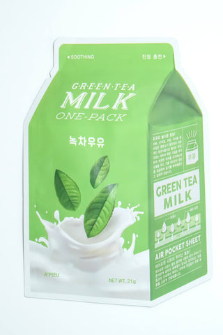 Skincare - A'Pieu Milk One Pack - Green Tea (Soothing)