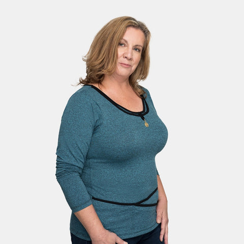 Seriously Soft™ Long Sleeve TuckTop™ - Teal Blue in S to XL