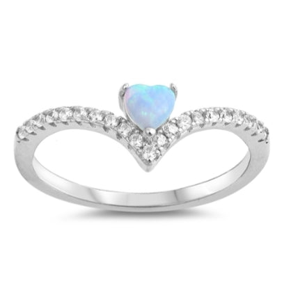Chevron Blue Opal Heart Ring