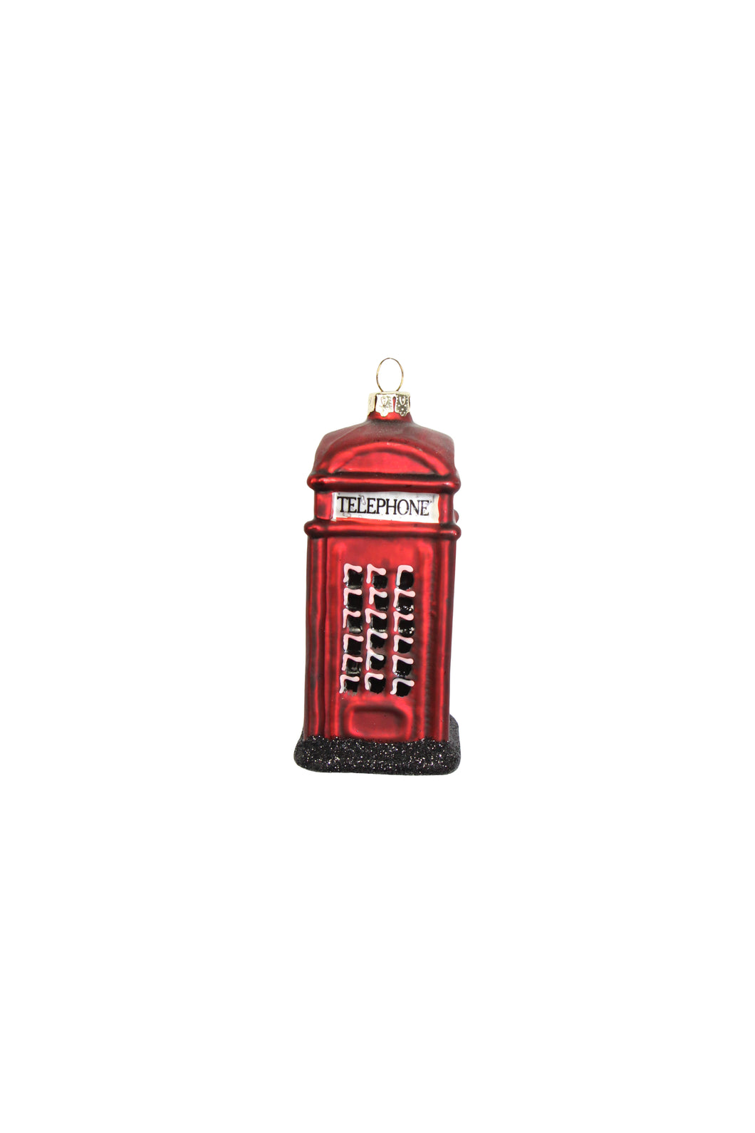 Telephone Box Glass Christmas Tree Decoration