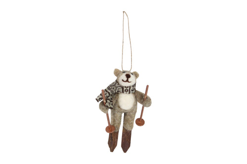 Wool Teddy On Skies Decoration