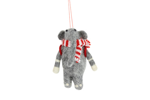 Elephant With Scarf Christmas Tree Decoration