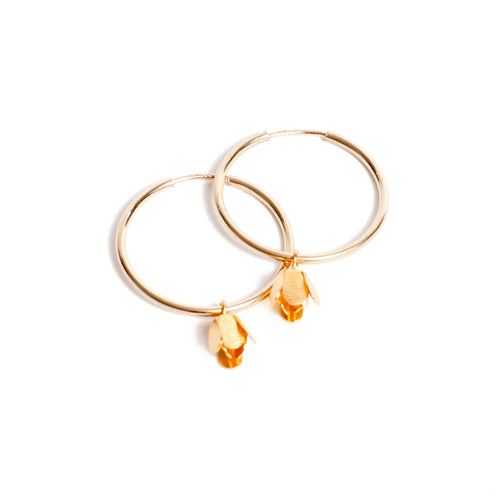 Tiny Bud Hoop Earrings Small - LilyKing
