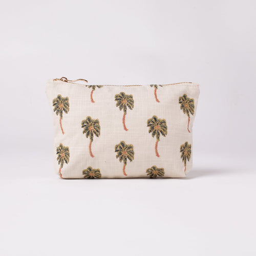 palm tree print make up bag by Elizabeth Scarlett