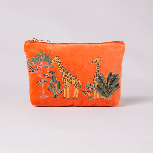 Giraffe Velvet Make-Up Bag - LilyKing