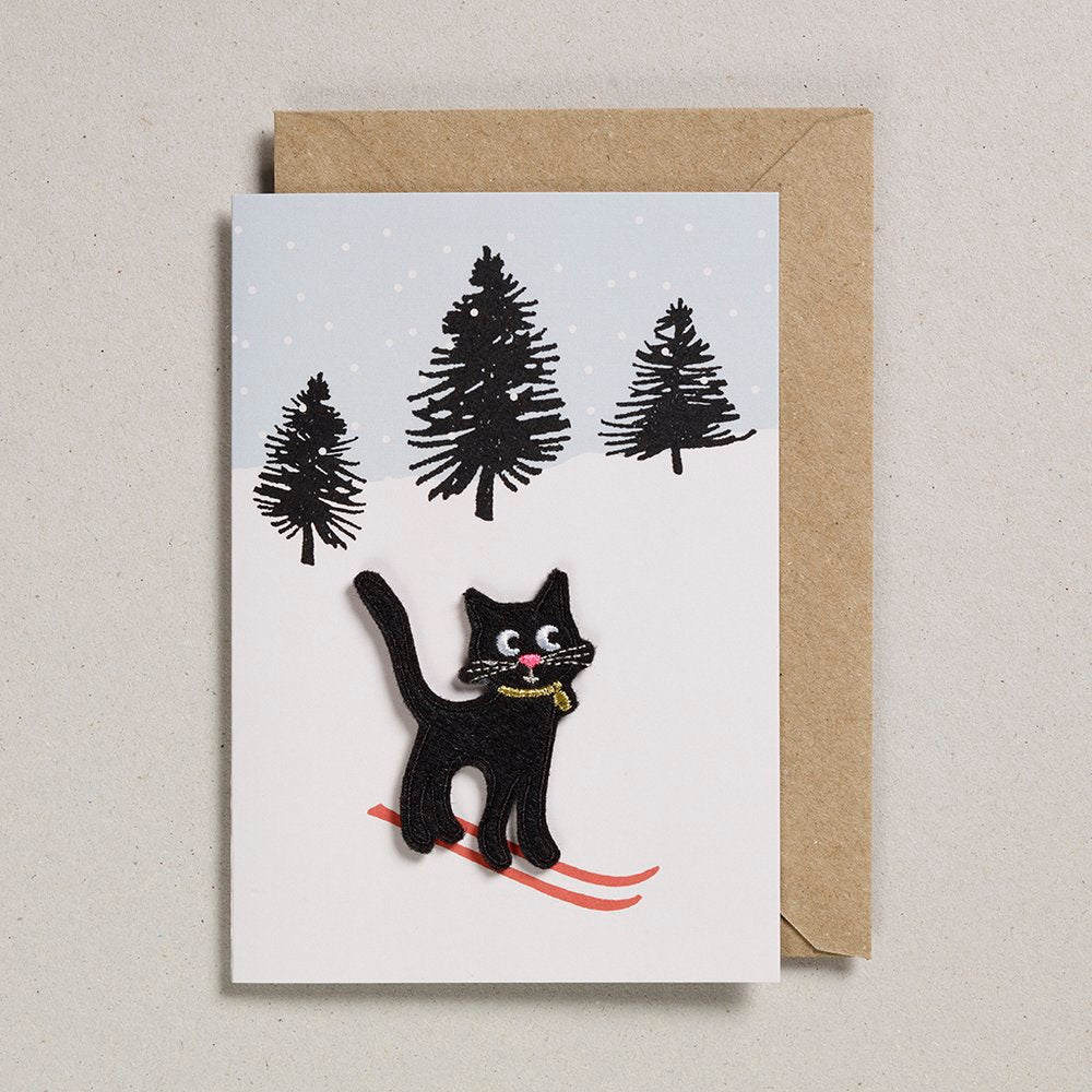 Felt Cat on Skis Card