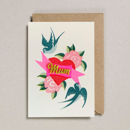 Mum Heart Embroidered Card