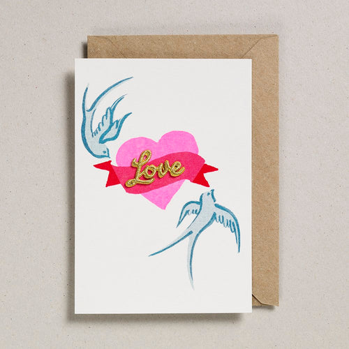 Love Heart Embroidered Card