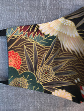 Crane bird printed Japanese inspired face mask in cotton