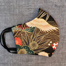 Japanese inspired 100% cotton reusable face mask with crane birds