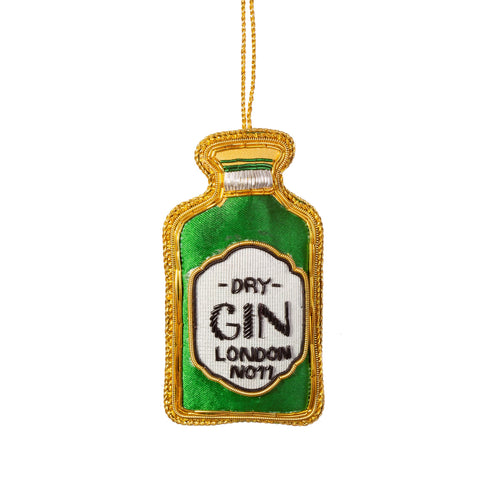 Embroidered Gin Bottle Christmas Tree Decoration