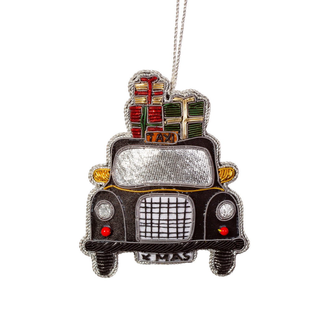 London Embroidered Black Taxi Christmas Tree Decoration