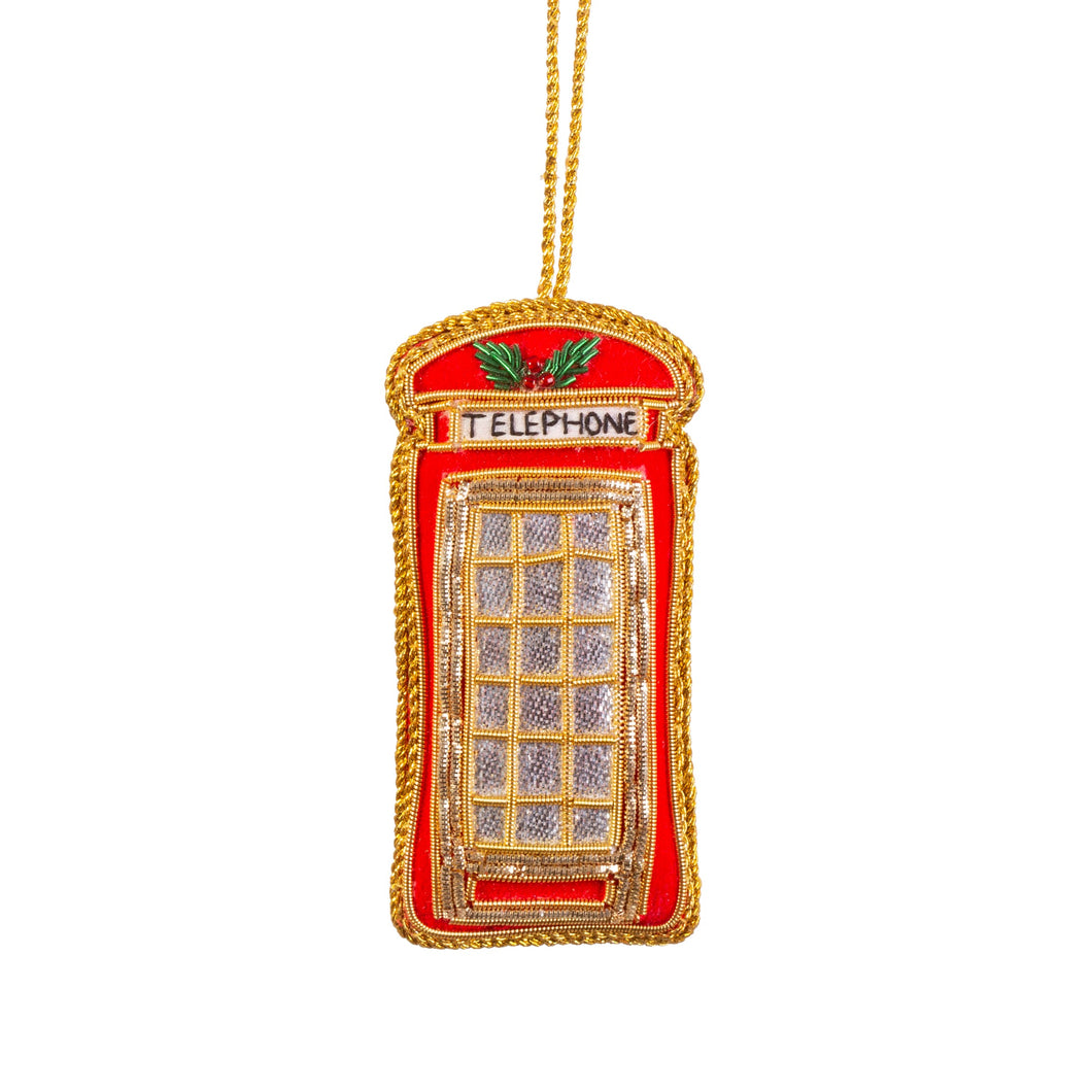 Embroidered London Telephone Box Christmas Tree Decoration