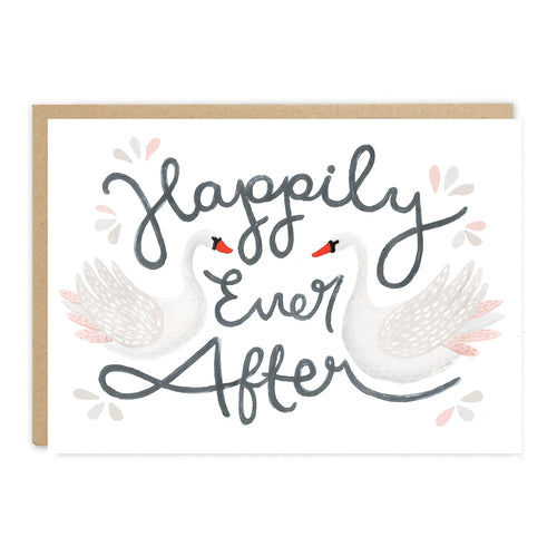 'Happily Ever After' wedding card featuring two swans by Jade Fisher.
