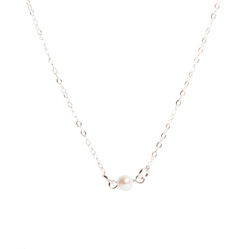 Silver Single Pearl Necklace