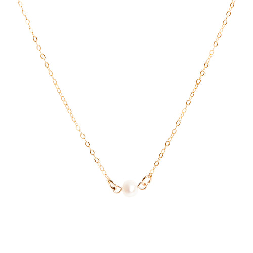 Lily King - Natural cream Freshwater Pearl gemstone bead, attached to a 14k Gold Filled cable chain. Fastens with a spring clasp.