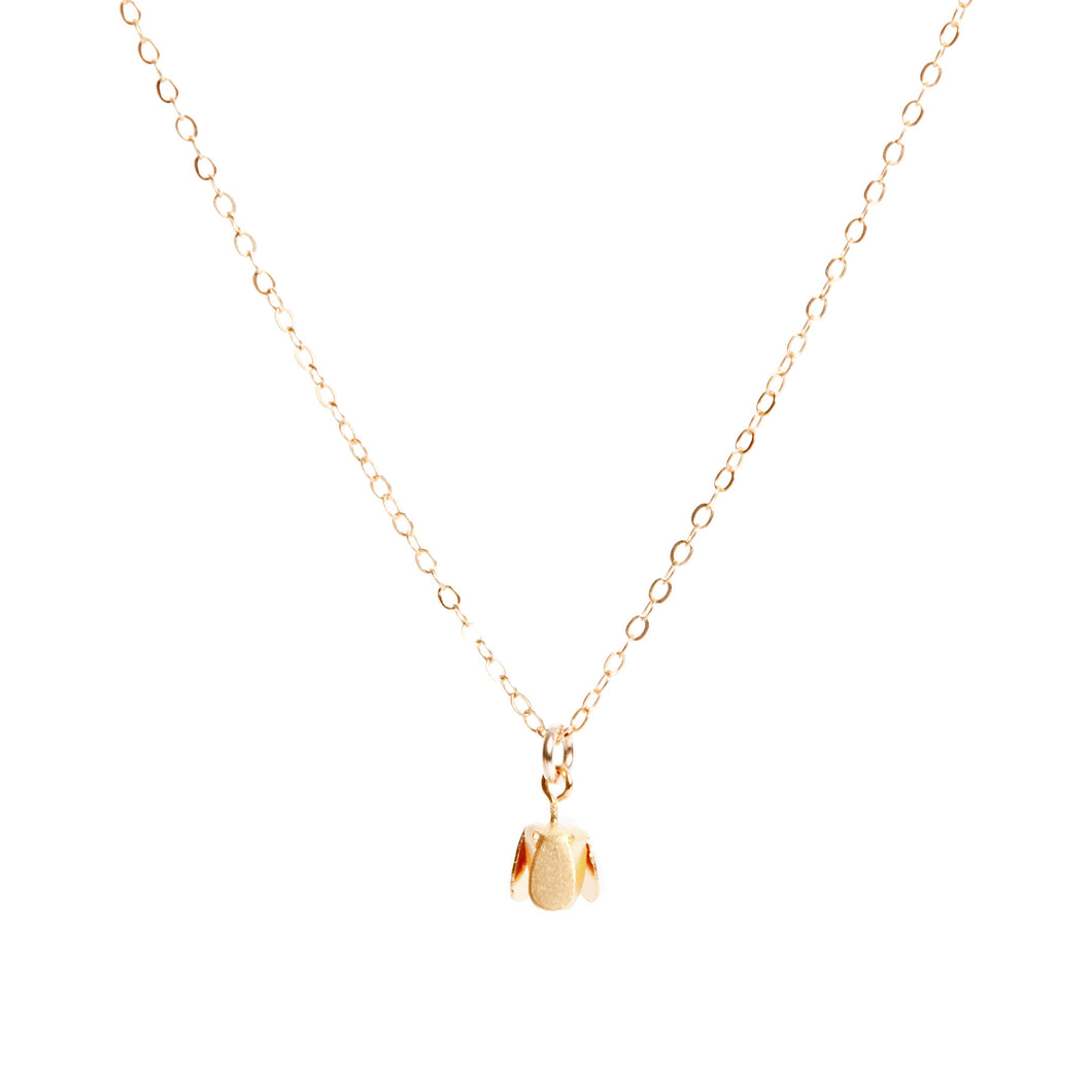 Gold Flower Bud Necklace - LilyKing