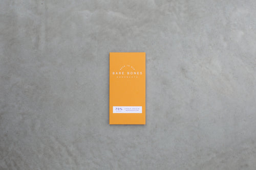 a bar of artisan dark chocolate by independent brand Bare Bones