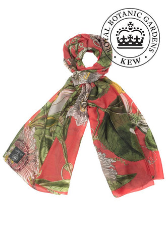 Kew Passion Flower Scarf - Coral - LilyKing
