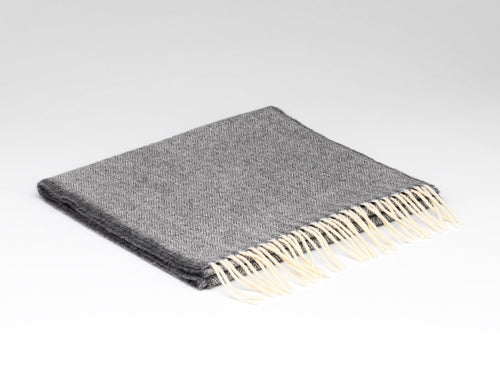 Uniform Grey Herringbone Lambswool Scarf