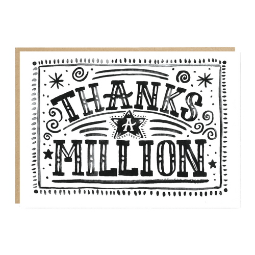 'Thanks a Million' greeting card by independent paper goods brand Jade Fisher