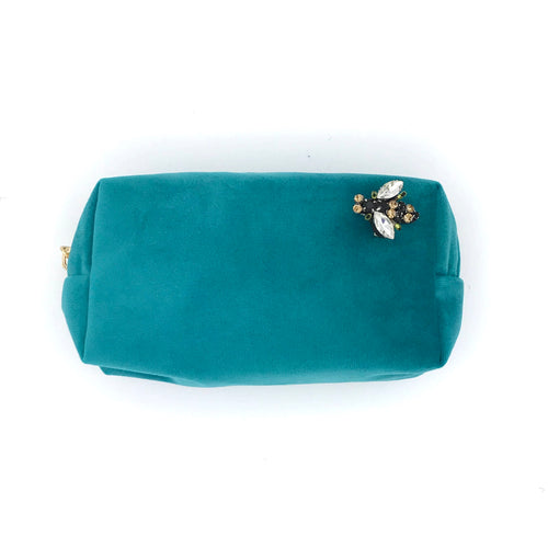 Velvet Cosmetic Bag with Bumblebee Brooch - Turquoise