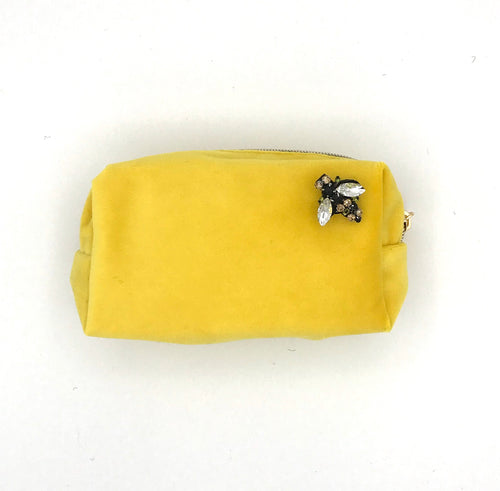 Velvet Cosmetic Bag with Bumblebee Brooch - Yellow