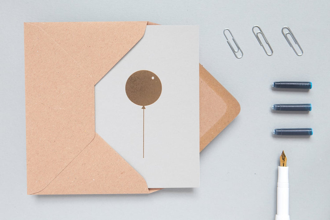 Balloon Card - Brass on Light Grey - LilyKing