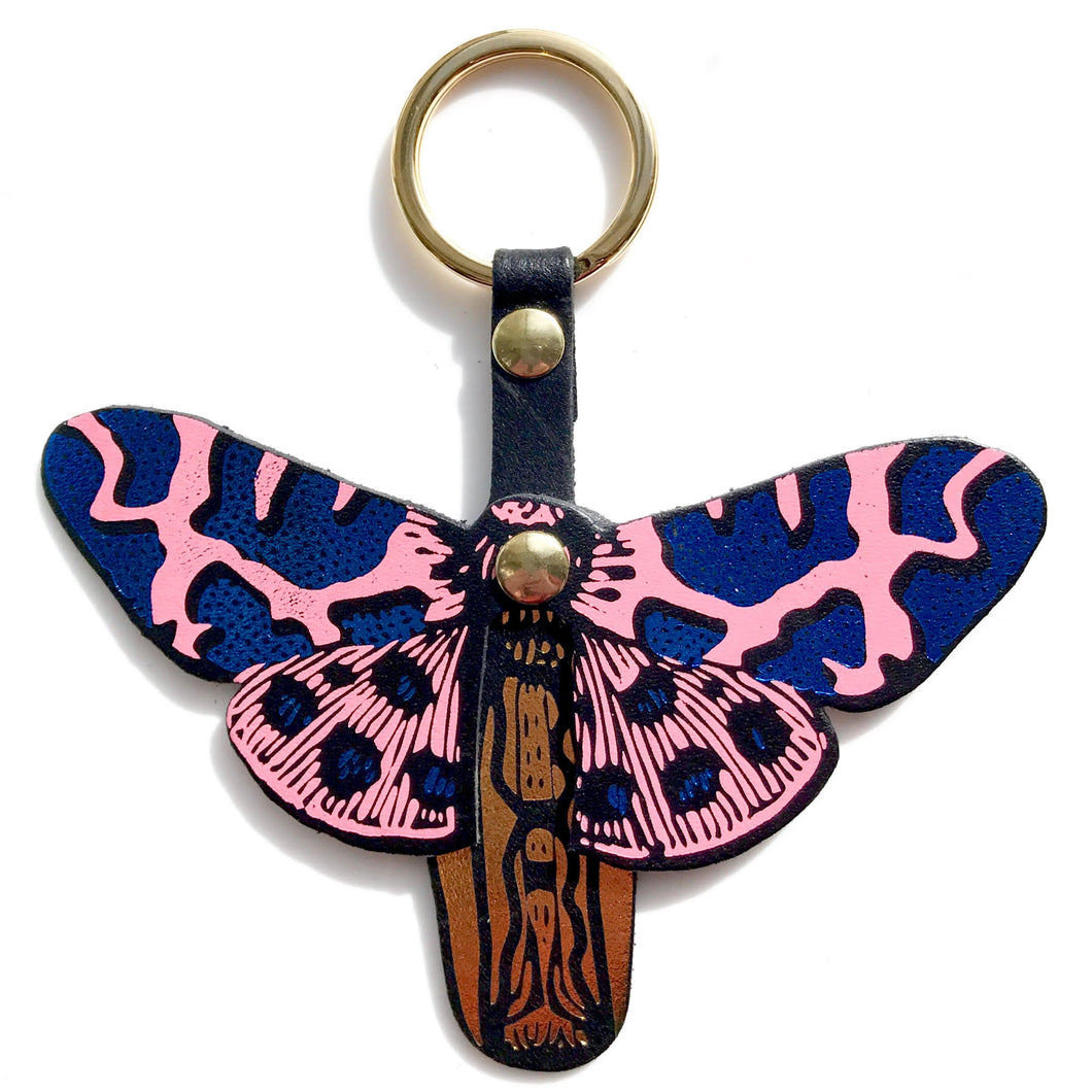 leather butterfly keyring in blue / pink by independent accessories brand ark colour design