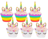 PartyFuFu Unicorn Cupcake Toppers and Wrappers Double Sided Kids Party Cake Decorations Set of 24