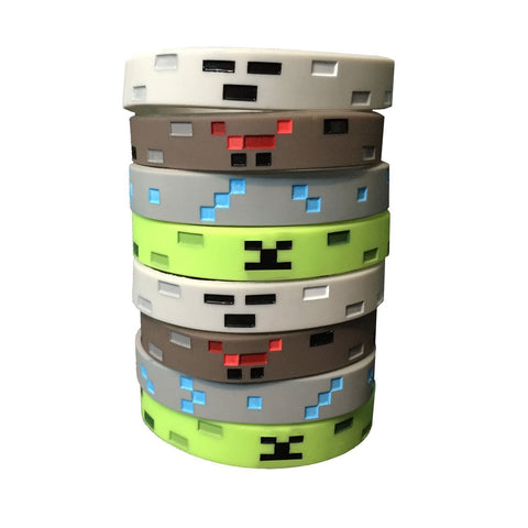PartyFuFu Pixel Mine Crafter Style Character Wristbands (8 Pack)