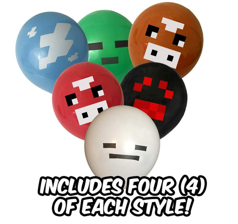 Pixel Style Miner Party Balloon Pack (36 count)