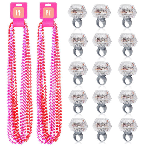 PartyFuFu Party Beads Necklaces & Light Up Engagement Diamond Rings (12 Pieces)