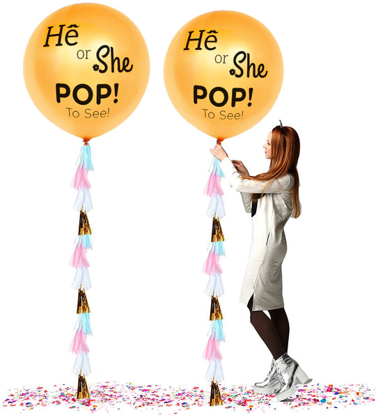 "PartyFuFu 36"" Gender Reveal Balloon with Confetti He Or She Pop to See With Tassel (Gold)"