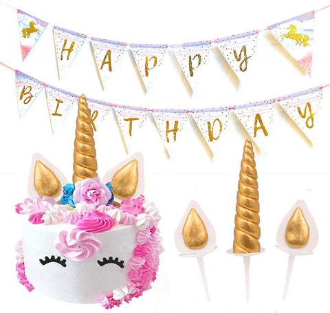 Unicorn Birthday Cake Topper by PartyFuFu - Party Decorations, Baby Shower - Handmade Gold Toppers plus Unicorn Happy Birthday Banner